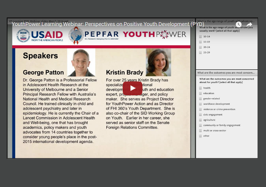 Perspectives on PYD webinar