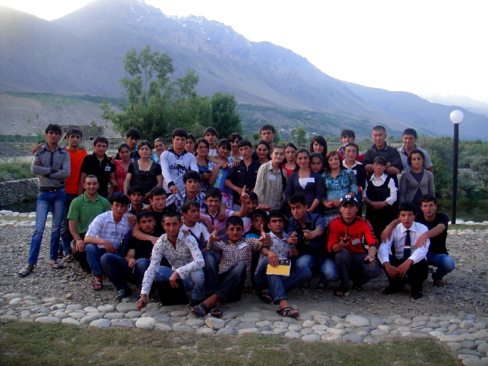 Participants in a positive youth development project implemented by EFCA - Tajikistan pose at a conference in the Gorno-Badakhshan region of Tajikistan.