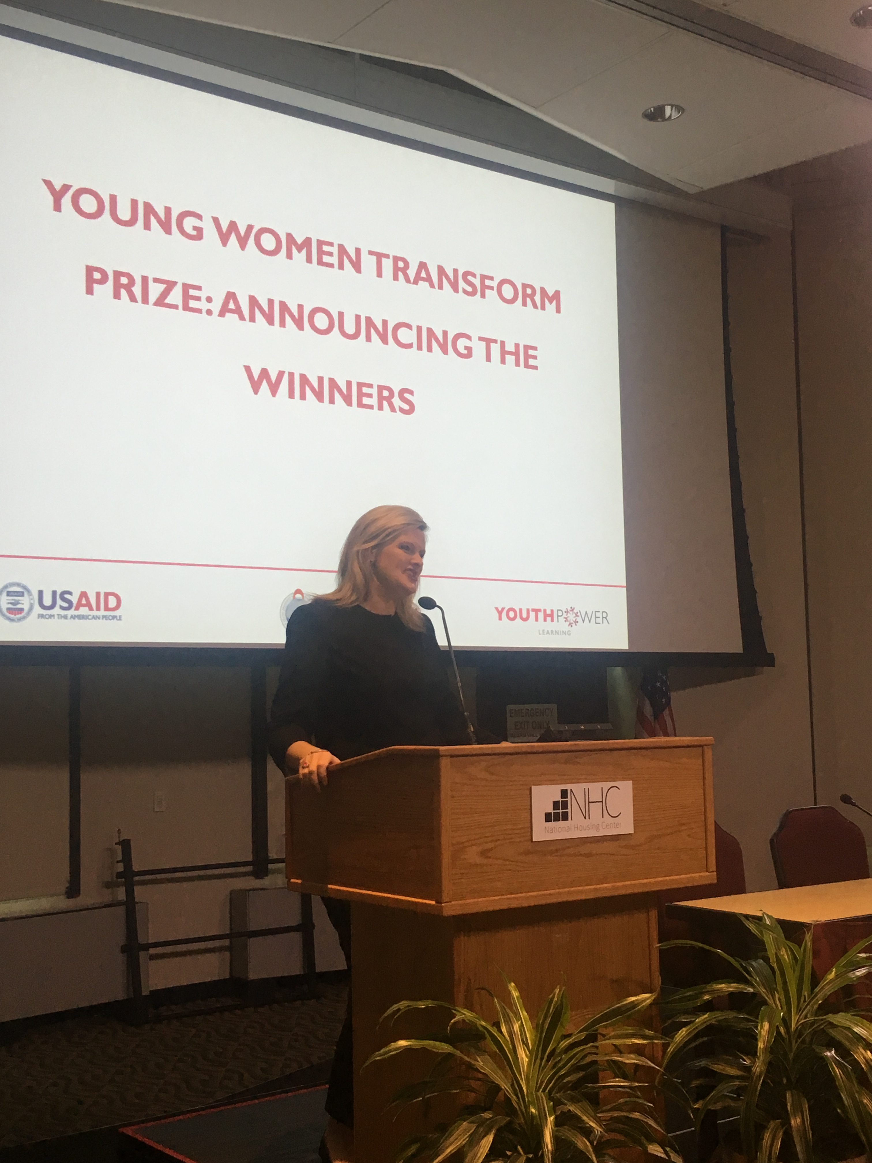 Michelle Bekkering, USAID, opens the 2018 YouthPower Annual Learning Network Meeting in Washington, D.C.