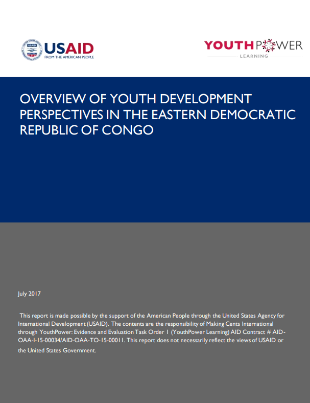 Overview of Youth Development Perspectives in the Eastern Democratic Republic Of Congo