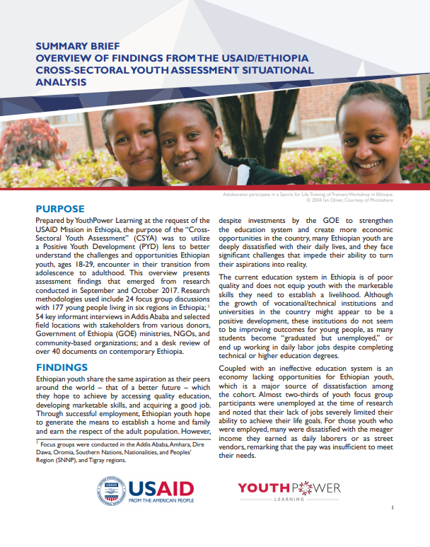 Summary Brief: Overview of Findings from the USAID/Ethiopia Cross-Sectoral Youth Assessment Situational Analysis