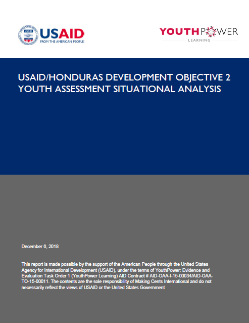 USAID/Honduras Development Objective Two Youth Assessment Situational Analysis