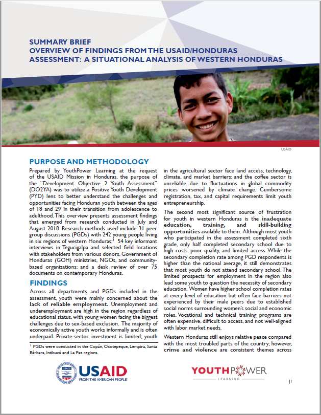 Summary Brief: Overview of Findings from the USAID-Honduras Assessment: A Situational Analysis of Western Honduras
