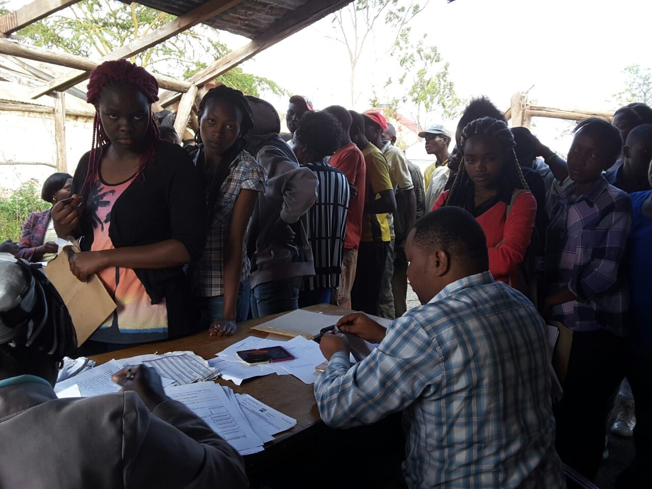 Youth in line to register for National Identity Cards in Kwale. Photo credit: RTI/K-YES
