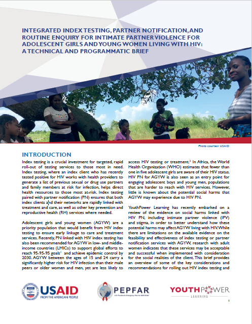 Integrated Index Testing, Partner Notification, and Routine Enquiry for Intimate Partner Violence for Adolescent Girls and Young Women Living with HIV: A Technical and Programmatic Brief