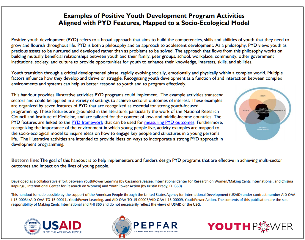 Examples of Positive Youth Development Program Activities Aligned with PYD Features, Mapped to a Socio-Ecological Model