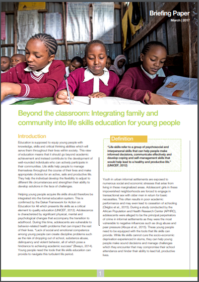 Beyond the classroom: integrating family and community into life skills education for young people