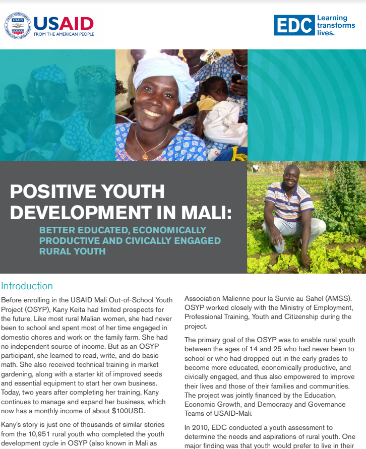 Positive Youth Development in Mali: Mali Out-of-School Youth